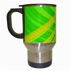 Abstract Green Yellow Background Travel Mugs (white)