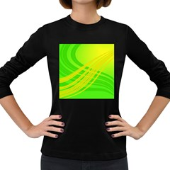 Abstract Green Yellow Background Women s Long Sleeve Dark T Shirts