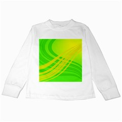 Abstract Green Yellow Background Kids Long Sleeve T Shirts