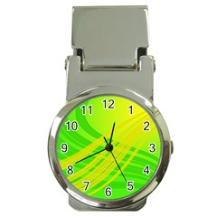 Abstract Green Yellow Background Money Clip Watches