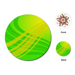 Abstract Green Yellow Background Playing Cards (round)