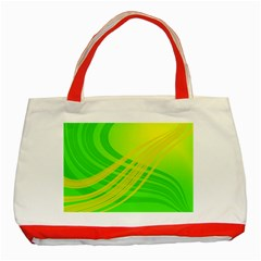 Abstract Green Yellow Background Classic Tote Bag (red)