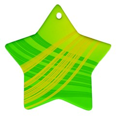 Abstract Green Yellow Background Star Ornament (two Sides)