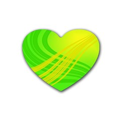 Abstract Green Yellow Background Rubber Coaster (heart)