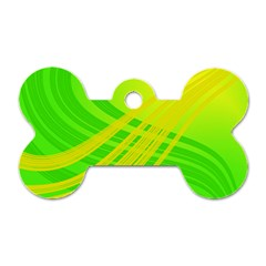 Abstract Green Yellow Background Dog Tag Bone (one Side)