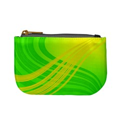 Abstract Green Yellow Background Mini Coin Purses