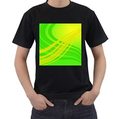 Abstract Green Yellow Background Men s T Shirt (black)