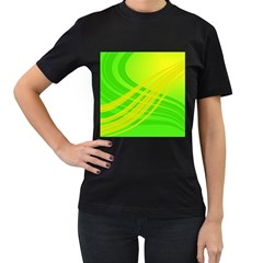 Abstract Green Yellow Background Women s T Shirt (black)