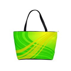 Abstract Green Yellow Background Shoulder Handbags
