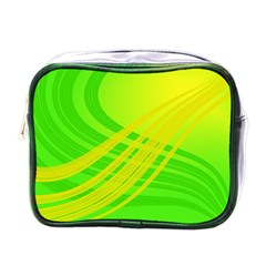 Abstract Green Yellow Background Mini Toiletries Bags