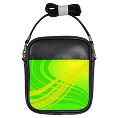 Abstract Green Yellow Background Girls Sling Bags