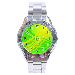 Abstract Green Yellow Background Stainless Steel Analogue Watch