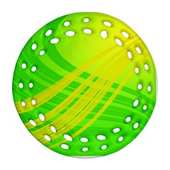 Abstract Green Yellow Background Round Filigree Ornament (two Sides)