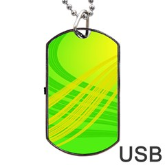 Abstract Green Yellow Background Dog Tag Usb Flash (one Side)