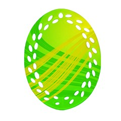 Abstract Green Yellow Background Oval Filigree Ornament (two Sides)