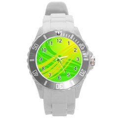 Abstract Green Yellow Background Round Plastic Sport Watch (l)