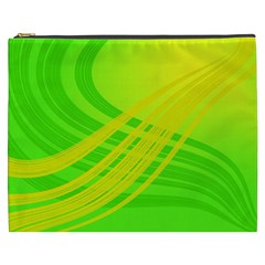 Abstract Green Yellow Background Cosmetic Bag (xxxl)