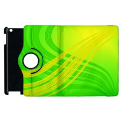 Abstract Green Yellow Background Apple Ipad 2 Flip 360 Case