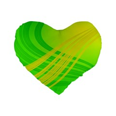 Abstract Green Yellow Background Standard 16  Premium Heart Shape Cushions