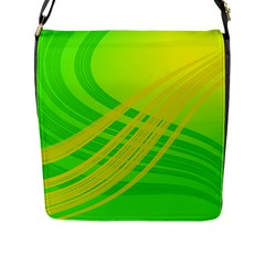 Abstract Green Yellow Background Flap Messenger Bag (l)