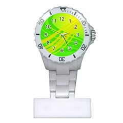 Abstract Green Yellow Background Plastic Nurses Watch