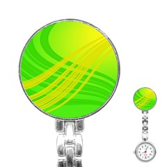 Abstract Green Yellow Background Stainless Steel Nurses Watch