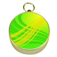 Abstract Green Yellow Background Gold Compasses