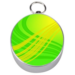 Abstract Green Yellow Background Silver Compasses