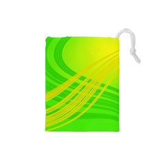Abstract Green Yellow Background Drawstring Pouches (small)