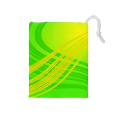Abstract Green Yellow Background Drawstring Pouches (medium)