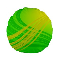 Abstract Green Yellow Background Standard 15  Premium Flano Round Cushions