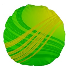 Abstract Green Yellow Background Large 18  Premium Flano Round Cushions