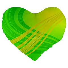 Abstract Green Yellow Background Large 19  Premium Flano Heart Shape Cushions