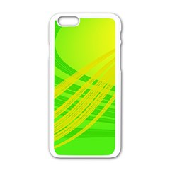 Abstract Green Yellow Background Apple Iphone 6/6s White Enamel Case