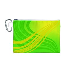 Abstract Green Yellow Background Canvas Cosmetic Bag (m)