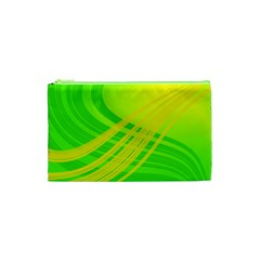 Abstract Green Yellow Background Cosmetic Bag (xs)
