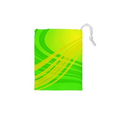 Abstract Green Yellow Background Drawstring Pouches (xs)
