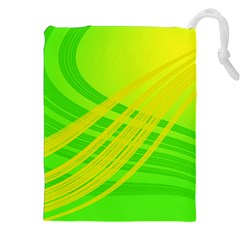 Abstract Green Yellow Background Drawstring Pouches (xxl)