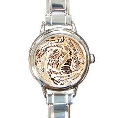 Abstract Newspaper Background Round Italian Charm Watch