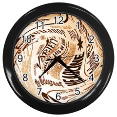 Abstract Newspaper Background Wall Clocks (black)