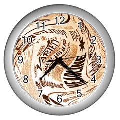 Abstract Newspaper Background Wall Clocks (silver)
