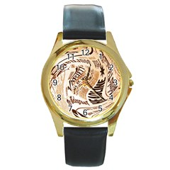 Abstract Newspaper Background Round Gold Metal Watch