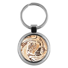 Abstract Newspaper Background Key Chains (Round)