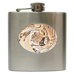 Abstract Newspaper Background Hip Flask (6 Oz)