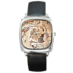 Abstract Newspaper Background Square Metal Watch