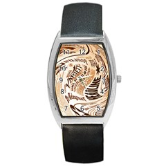 Abstract Newspaper Background Barrel Style Metal Watch