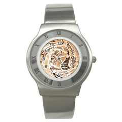 Abstract Newspaper Background Stainless Steel Watch
