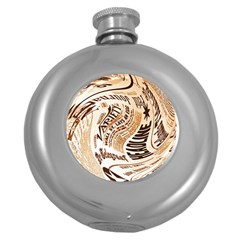 Abstract Newspaper Background Round Hip Flask (5 Oz)