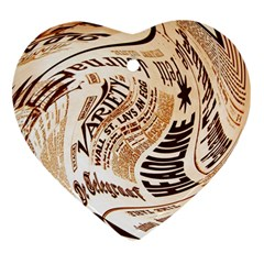 Abstract Newspaper Background Heart Ornament (two Sides)