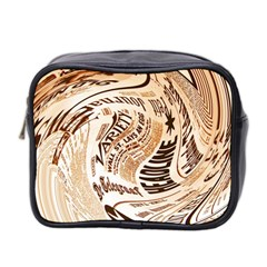Abstract Newspaper Background Mini Toiletries Bag 2 Side